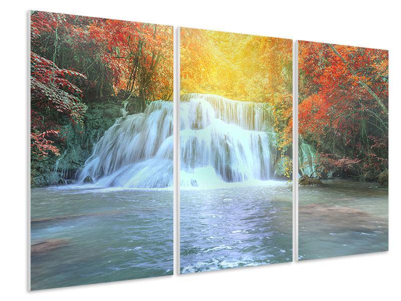 Hartschaumbild 3-teilig Wasserfall im Licht
