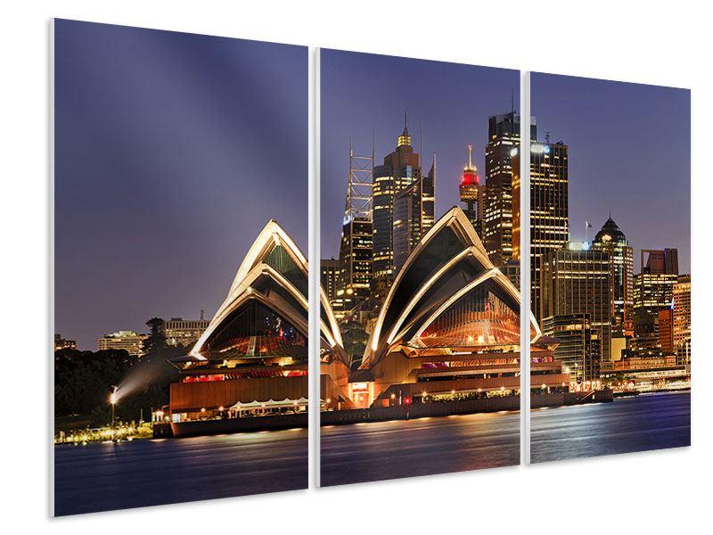 Hartschaumbild 3-teilig Skyline Mit dem Boot vor Sydney