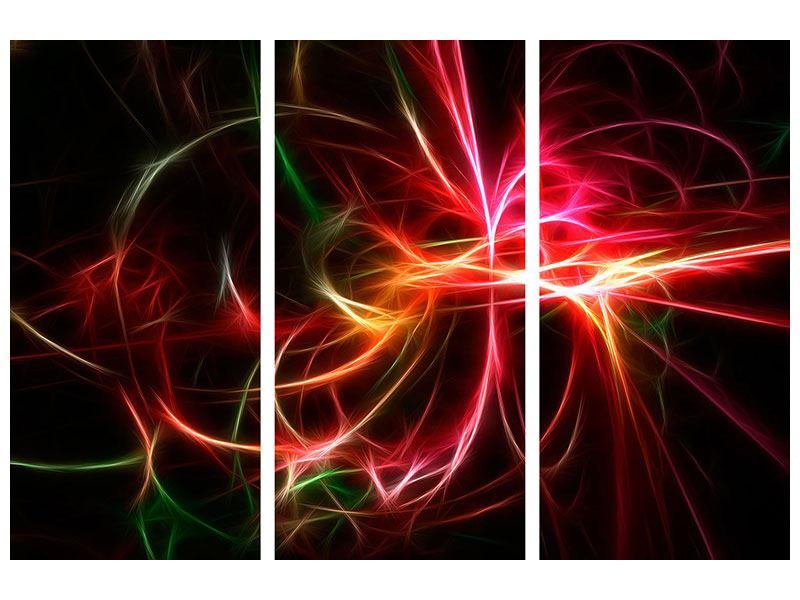 Hartschaumbild 3-teilig Fraktales Lichtspektakel