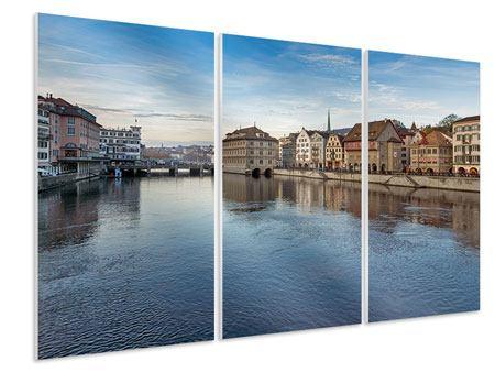 Hartschaumbild 3-teilig Kosmopolitisches Zürich