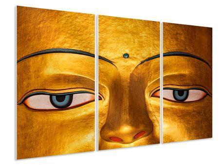 Hartschaumbild 3-teilig Die Augen eines Buddhas