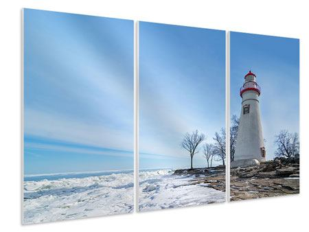 Hartschaumbild 3-teilig Leuchtturm im Schnee