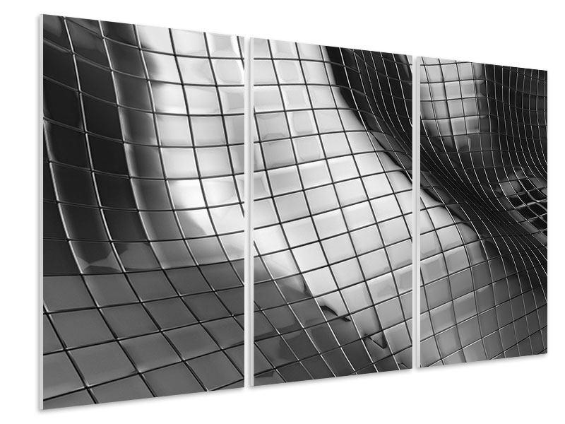 Hartschaumbild 3-teilig Abstrakter Stahl