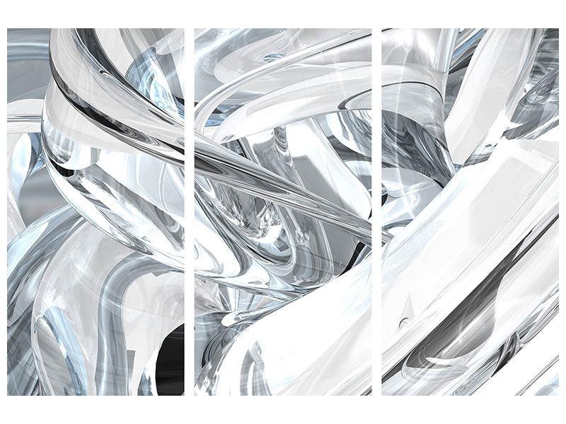 Hartschaumbild 3-teilig Abstrakte Glasbahnen