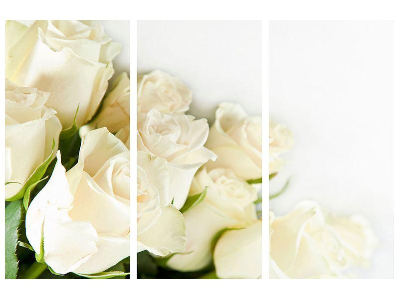 Hartschaumbild 3-teilig Weisse Rosen