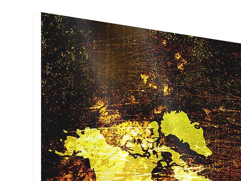 Hartschaumbild 3-teilig Retro-Weltkarte