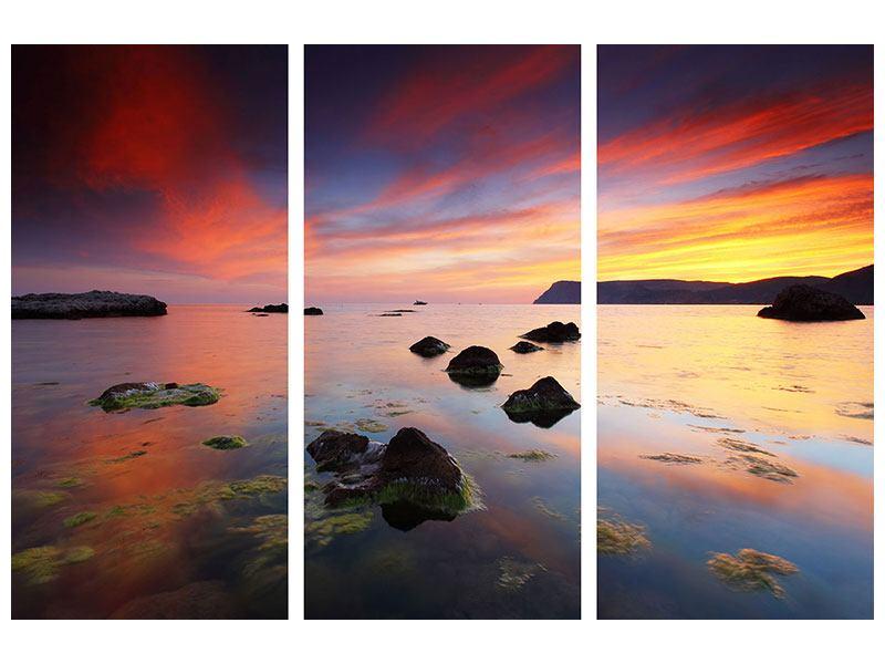 Hartschaumbild 3-teilig Ein Sonnenuntergang am Meer