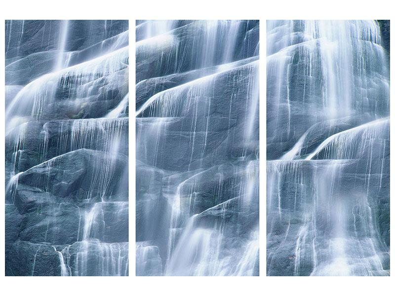 Hartschaumbild 3-teilig Grossartiger Wasserfall