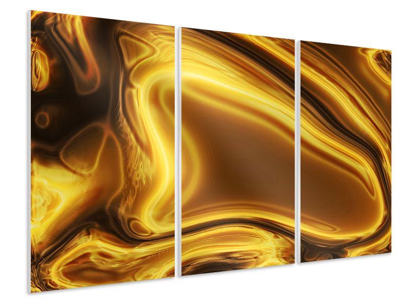 Hartschaumbild 3-teilig Abstrakt Flüssiges Gold