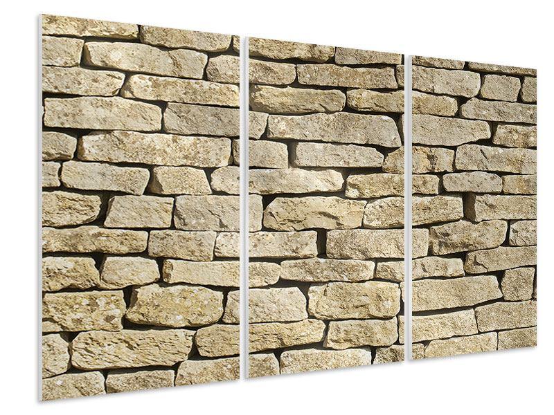 Hartschaumbild 3-teilig Alte Mauer