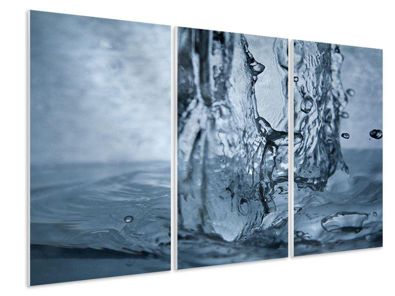 Hartschaumbild 3-teilig Wasserdynamik