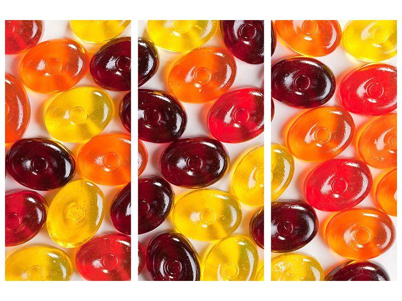 Hartschaumbild 3-teilig Bonbons