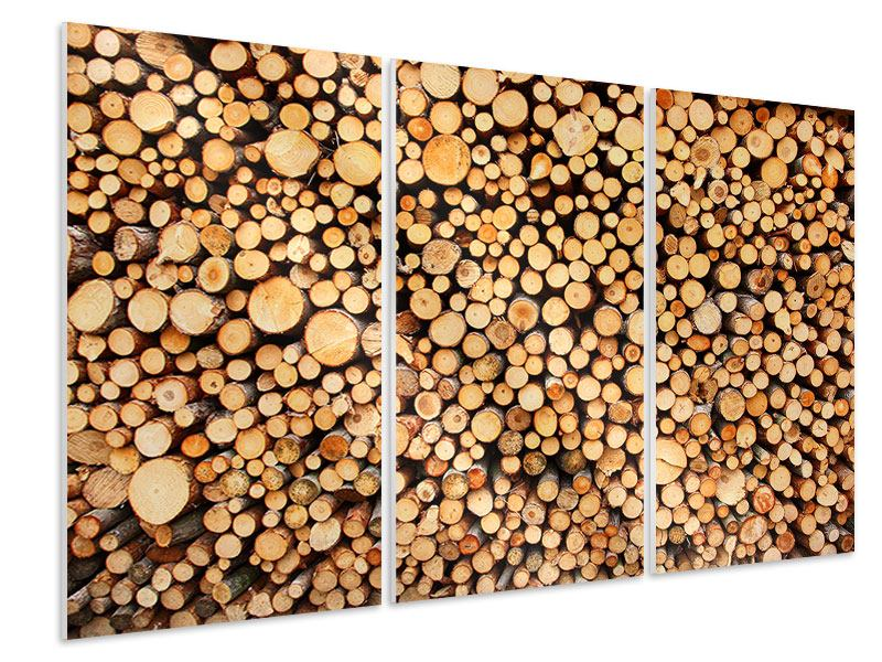 Hartschaumbild 3-teilig Holzstämme
