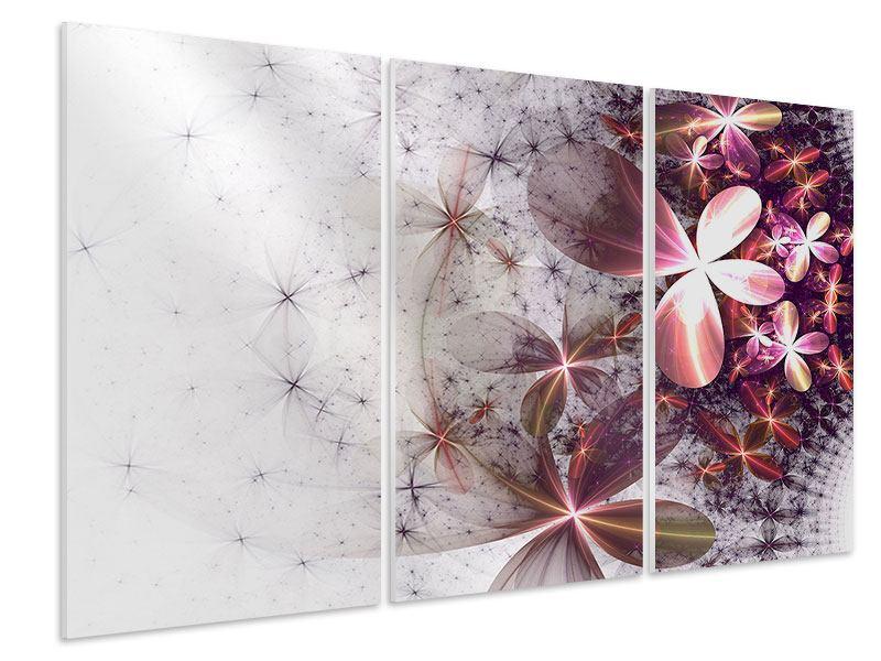 Hartschaumbild 3-teilig Abstrakte Blumen