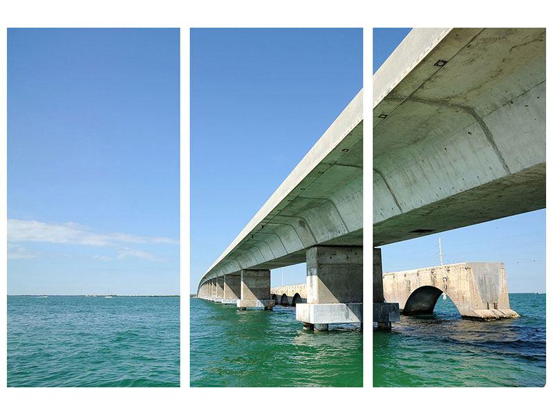 Hartschaumbild 3-teilig Seven Mile Bridge