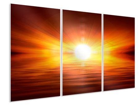 Hartschaumbild 3-teilig Glühender Sonnenuntergang