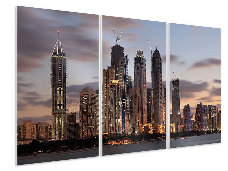 Hartschaumbild 3-teilig Skyline Dubai bei Sonnenuntergang