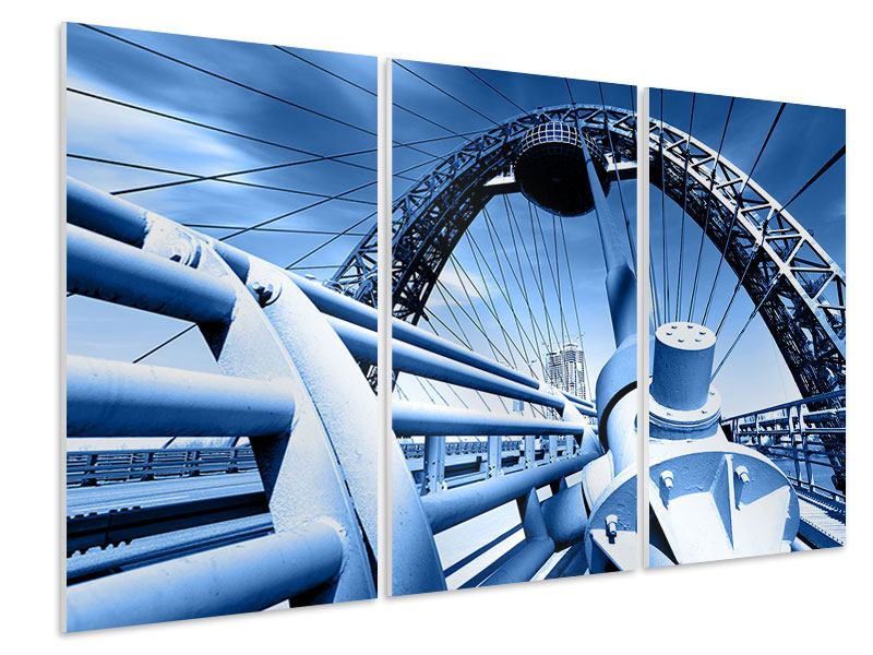 Hartschaumbild 3-teilig Avantgardistische Hängebrücke