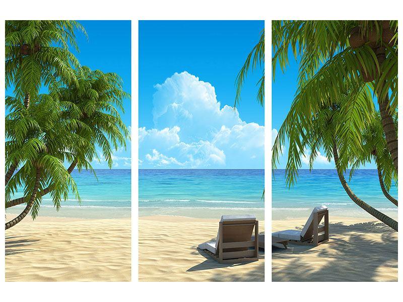 Hartschaumbild 3-teilig Strandparadies