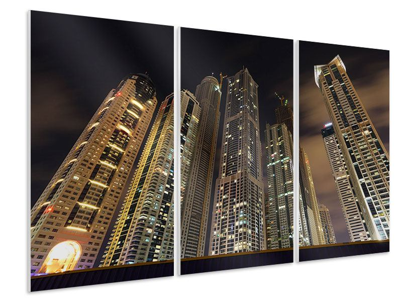 Hartschaumbild 3-teilig Wolkenkratzer Dubai Marina