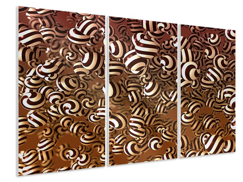 Hartschaumbild 3-teilig Schokoladen-Bonbons