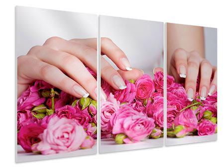 Hartschaumbild 3-teilig Hände auf Rosen gebettet
