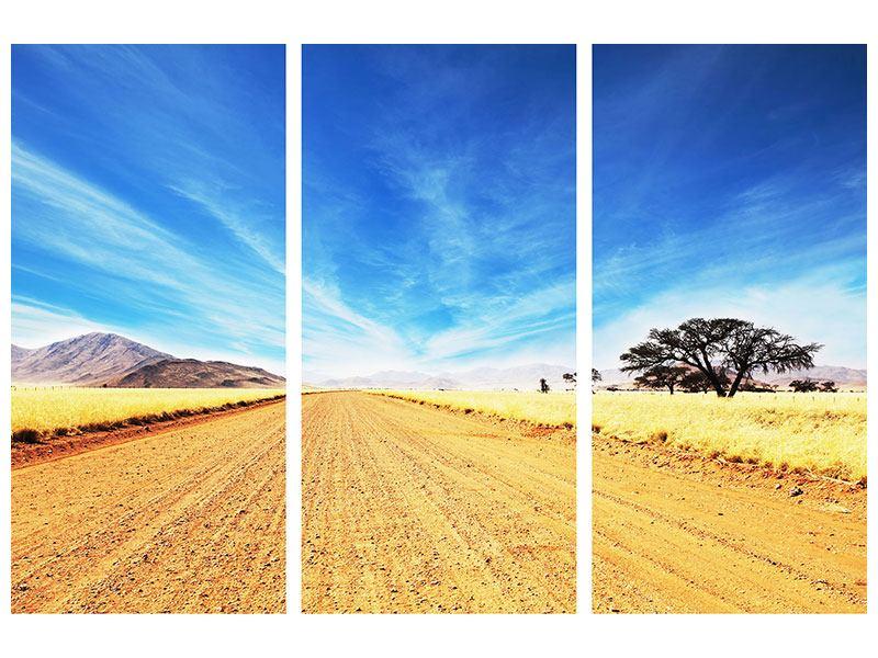 Hartschaumbild 3-teilig Eine Landschaft in Afrika