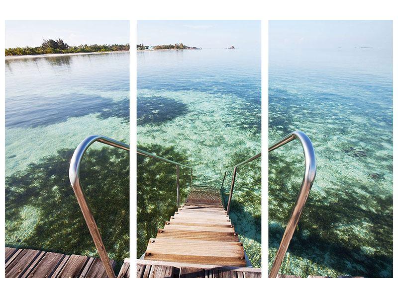 Hartschaumbild 3-teilig Bad im Meer