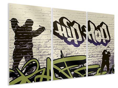 Hartschaumbild 3-teilig Graffiti Hip Hop