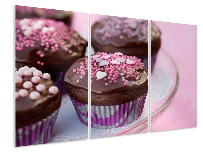 Hartschaumbild 3-teilig Muffins