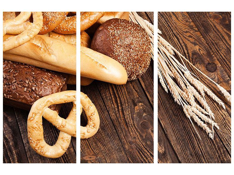 Hartschaumbild 3-teilig Brot und Bretzel