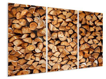 Hartschaumbild 3-teilig Gestapeltes Holz