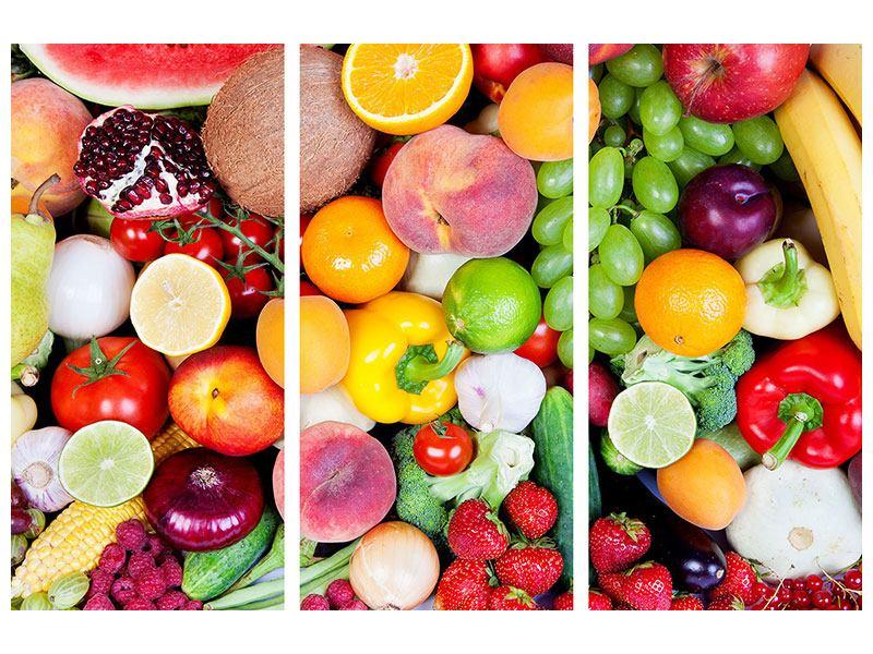 Hartschaumbild 3-teilig Frisches Obst