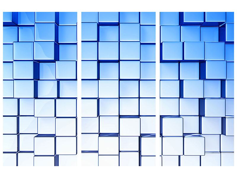 Hartschaumbild 3-teilig 3D-Symetrie