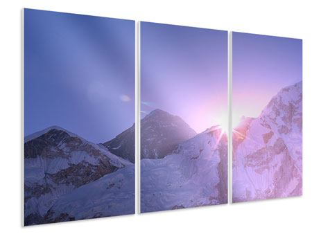 Hartschaumbild 3-teilig Sonnenaufgang beim Mount Everest