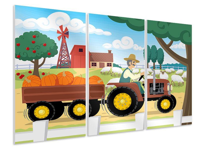 Hartschaumbild 3-teilig Bauernhof