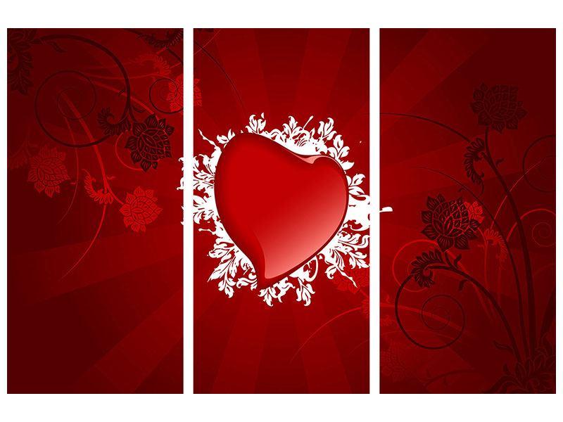 Hartschaumbild 3-teilig Flying Heart