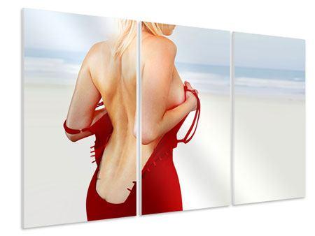 Hartschaumbild 3-teilig Rücken einer Schönheit
