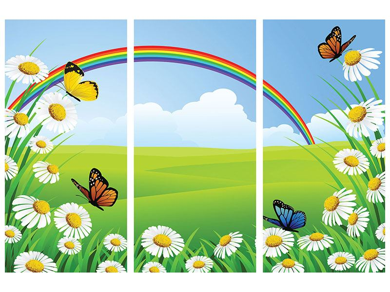 Hartschaumbild 3-teilig Der bunte Regenbogen