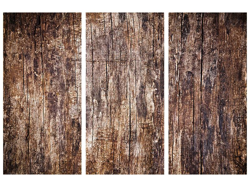 Hartschaumbild 3-teilig Retro-Holz