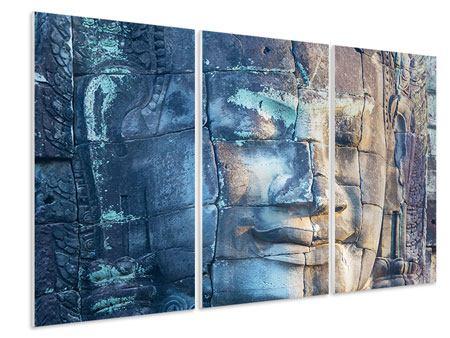 Hartschaumbild 3-teilig Buddha Statur