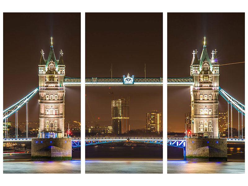 Hartschaumbild 3-teilig Tower Bridge bei Nacht