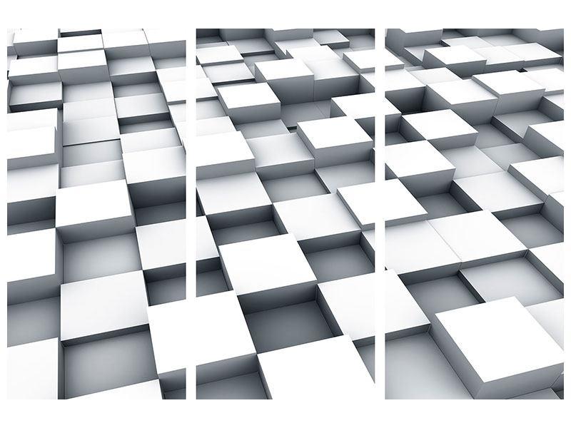 Hartschaumbild 3-teilig 3D-Kubus