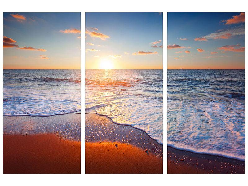 Hartschaumbild 3-teilig Sonnenuntergang am Horizont