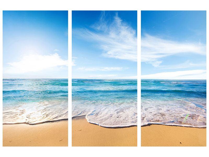 Hartschaumbild 3-teilig Spuren im Sand