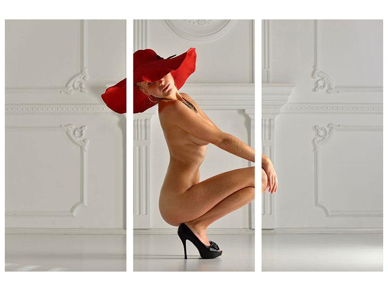 Hartschaumbild 3-teilig Nude-Diva