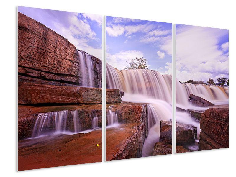 Hartschaumbild 3-teilig Himmlischer Wasserfall