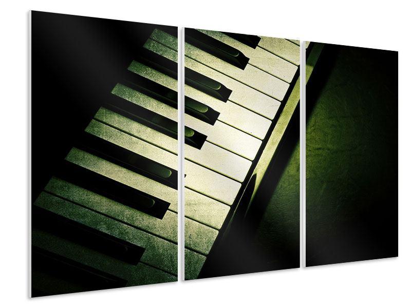 Hartschaumbild 3-teilig Close Up Klavier