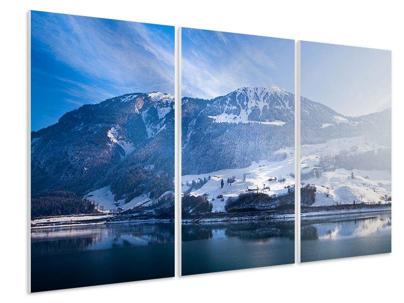 Hartschaumbild 3-teilig Winterwunderland