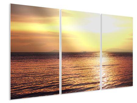 Hartschaumbild 3-teilig Sonnenuntergang an der See